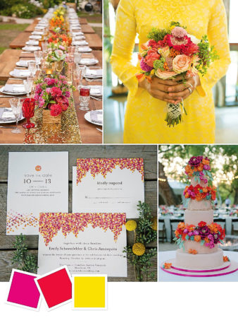 Magenta + Poppy + Yellow : Bright, Colorful Outdoor Wedding Color Palette