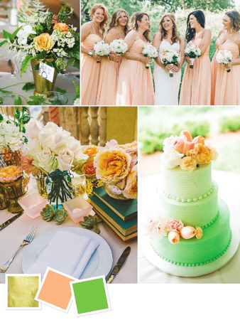 Gold + Peach + Green : Gold, Peach And Green Wedding Color Palette