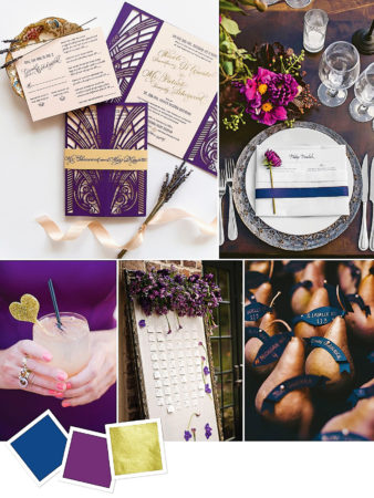 Navy + Eggplant + Gold : Moody Color Palette For An Art-Deco Wedding Theme