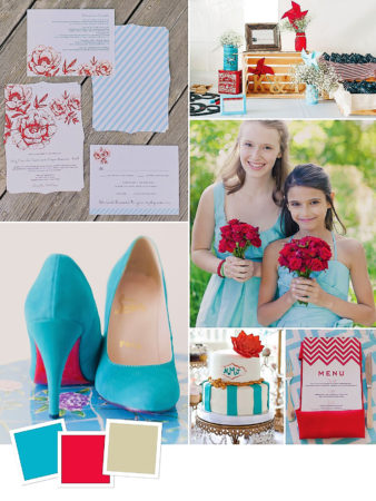 Aqua + Cherry Red + Khaki : Wedding Color Combination Of Aqua, Cherry Red And Khaki