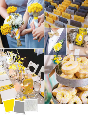 Yellow + Gray + Silver : Modern Gray Wedding Decor