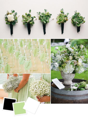 Black + Pale Green + White : Chic Black And Pale Green Wedding Color Combination