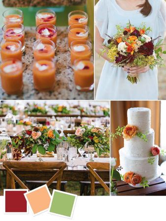 Merlot + Peach + Sage : Rustic Wedding Color Palette