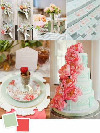 Mint and Coral Wedding Colors